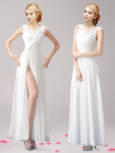 Fashionable High Slit Scoop White Mother Of The Bride Dress With Appliques