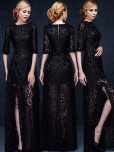 Sexy Scoop Half Sleeves High Slit Black Mother Of The Bride Dress With Lace