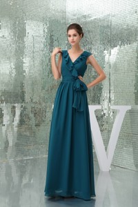 Teal Floor-length V-neck Mother of the Bride Dress with Sash