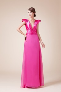 Exquisite V-neck Column / Sheath Long Mother Of The Bride Dress With Cap Sleeves