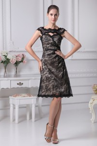 Bateau Lace Black Knee-length Mother Of The Bride Dress