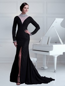 Sexy Black Column High Neck Beading Brush Train Mother Of The Bride Dress