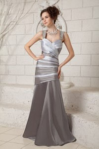 Gray Column Straps Brush Train Satin Beading Mother Of The Bride Dress