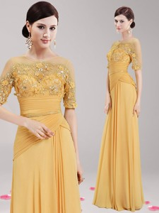 See Through Scoop Half Sleeves Gold Mother Of The Bride Dress With Appliques And Belt