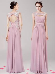 New Arrivals Scoop Pink Chiffon Mother Of The Bride Dress With Appliques