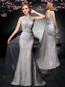 Lovely Belted And Laced Backless Grey Mother Of The Bride Dress With Watteau Train