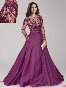 See Through Scoop Long Sleeves Dark Purple Mother Of The Bride Dress With Beading