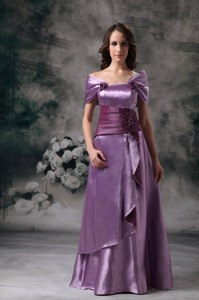 Lavender Empire Off The Shoulder Floor-length Taffeta Mother Of The Groom Dress