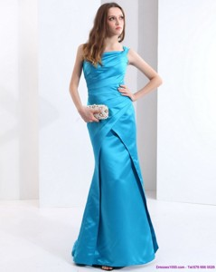 One Shoulder Baby Blue Long Prom Dress With Brush Train