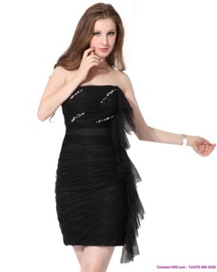 Discount Strapless Ruching Mini Length Prom Dress In Black