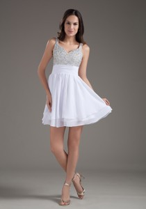 Perfect Straps Short White Prom Dress With Beading