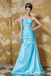 Aqua Blue Column Sweetheart Floor-length Taffeta Beading Prom Dress
