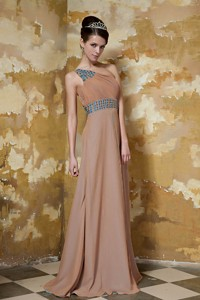 Brown Column One Shoulder Floor-length Chiffon Beading Prom Dress