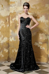Black Column Sweetheart Brush Train Taffeta Sequins Prom Dress