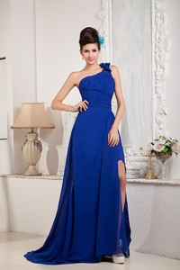 Modest Royal Blue Princess Prom Dress One Shoulder Chiffon Beading And Bow Brush Train