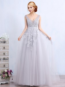 Elegant V Neck Brush Train Grey Prom Dress with Appliques and Belt