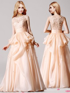 Wonderful Scoop Applique and Pick Ups Prom Dress in Peach