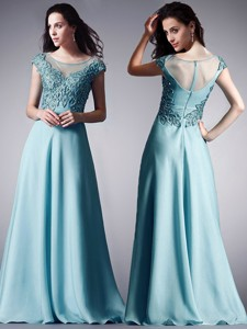 Luxurious Scoop Cap Sleeves Light Blue Prom Dress with Appliques