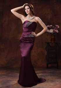 Northport Alabama Dark Purple Beaded Decorate On Satin Mermaid Mother Of The Bride Dress With Brush