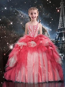 Fashionable Floor Length Beading and Ruffles Little Girl Pageant Dress for Winter