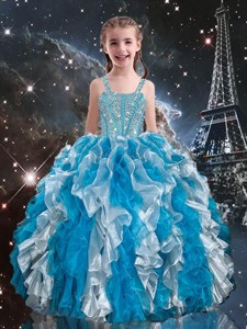 Hot Sale Straps Little Girl Pageant Dress with Beading and Ruffles for Spring