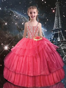 Beautiful Ball Gown Straps Little Girl Pageant Dress With Beading