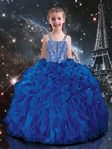 Hot Sale Ball Gown Straps Beading Little Girl Pageant Dress in Blue