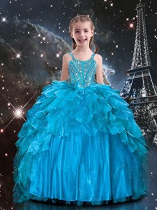 New Arrivals Straps Little Girl Pageant Dress With Beading In Blue