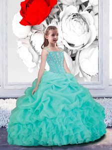 Lovely Straps Turquoise Organza Little Girl Pageant Dress