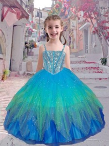 Perfect Straps Multi Color Little Girl Pageant Dress With Beading