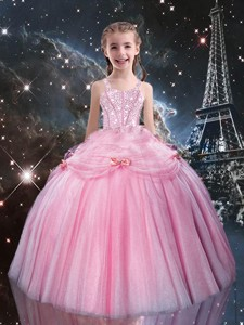 Sweet Ball Gown Straps Pink Beading Little Girl Pageant Dress