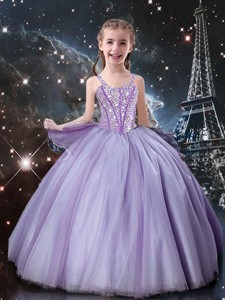 Classical Straps Little Girl Pageant Dress In Lavender