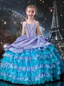 Fashionable Ball Gowns Straps Beading Little Girl Pageant Dress