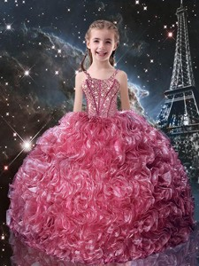 Pretty Straps Little Girl Pageant Dress With Beading For Fall