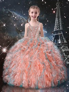 Best Ball Gown Straps Beading Little Girl Pageant Dress For Fall
