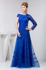 Asymmetrical Mother of the Groom Dress of Floor-length in Blue