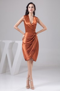 Ruched Orange Mothers Dress For Weddings With Surpliced V-neck