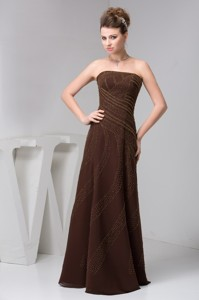 Brown Strapless Long Mothers Dress For Weddings With Beading