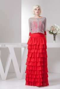 Red Floor-length Sweetheart Mother Bride Dress with Ruffled Layers