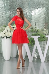 Beautiful Red One Shoulder Mini-length Tulle Mother Bride Dress