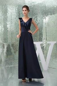 Ankle-length V-neck Fitted Navy Blue Mother of the Bride Dress