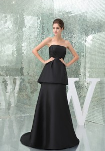 Strapless Black Brush Mothers Outfit for Weddings with Peplum