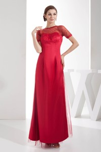 Scoop Ankle-length Empire Sequins Red Mother Of The Bride Dress With Short Sleeves