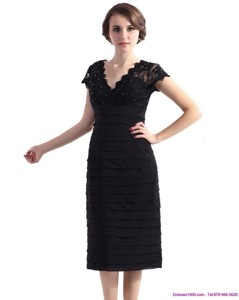Cap Sleeves Black Mother Of The Bride Dress With Beading And Ruching