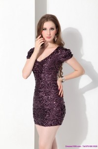 Luxurious V Neck Mini Length Mother Of The Bride Dress With Sequins