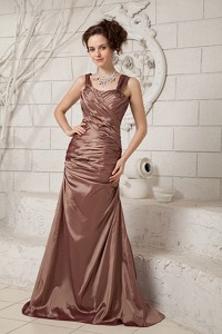 Brown Column Straps Brush Train Taffeta Ruch Mother Of The Bride Dress