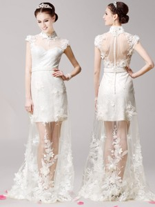 Elegant High Neck Cap Sleeves White Mother Of The Bride Dress With Lace And Appliques