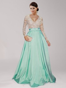 Sweet Deep V Neckline Beaded And Belted Mother Of The Bride Dress In Apple Green