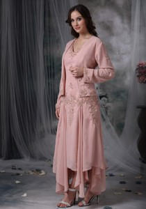 Pink Column V-neck Asymmetrical Appliques Chiffon Mother of the Bride Dress