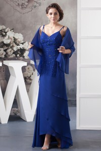 Beaded Royal Blue Mother of the Bride Dress of Ankle-length